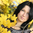 Foto Stock: Attractive womwith yellow leafage