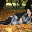 Foto Stock: Attractive womlying on yellow leafage