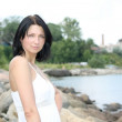 Portrait of attractive woman on the seaside — Stock Photo