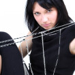 Young beautiful woman with chain — Stock Photo