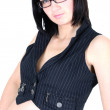 Stock Photo: Young woman in black vest
