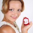 Woman with wedding rings in red box — Stock Photo