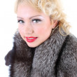 Blondie woman with fur collar — Stock Photo