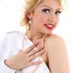 kobieta zaskoczony blondie. Marilyn monroe imitacja — Zdjęcie stockowe