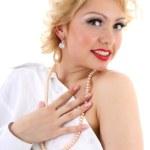 Surprised blondie woman. Marilyn Monroe imitation — Stock Photo