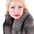 Blondie woman with fur collar - Stockfoto