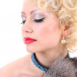 Young blondie woman with closed eyes. Marilyn Monroe imitation — Stock Photo