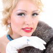 Blondie woman with fur collar. Marilyn Monroe imitation — Stock Photo