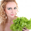 Young woman with green salad — Stock Photo #11794075