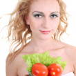 Young woman with green salad an tomatoes — Stock Photo #11794084