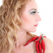 Стоковое фото: Young woman with red chili peppers