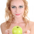 Young beautiful woman with green apple — Stockfoto