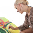 Woman painting a picture — Stock Photo