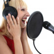 Stock Photo: Womsinging over white