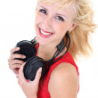 Womwith headphones smiling — Stock Photo #11794322