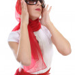 Glamorous girl in red correcting sunglasses — Stock Photo #11794337