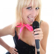 Royalty-Free Stock Photo: Attractive female singer showing tongue