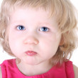 Close up portrait of little blue-eyed girl — Stock Photo