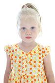 Little girl in orange dress — Stock Photo