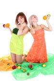Two sexy women with fruits — Φωτογραφία Αρχείου