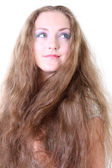 Portrait of a blue-eyed girl with long hair — Fotografia Stock