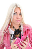 Portret van een jonge vrouw in roze met toy-terriër over wit — Stockfoto
