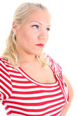 Portrait of blonde in striped dress — Stock Photo