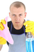 Portrait of young man with cleaning supplies — Stock Photo
