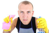 Portrait of man with cleaning supplies — Stok fotoğraf
