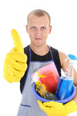 Man with cleaning supplies giving thumbs up — Stock Photo