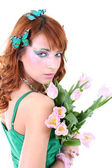 Red-haired woman with flowers — Стоковое фото