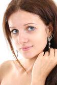 Portrait of beautiful girl over white — Stock Photo