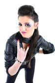 Girl in black leather jacket — Stock Photo