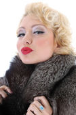 Blondie woman with fur collar kissing — Stock Photo