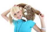 Menina sorridente com brinquedo — Foto Stock