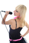 Young woman singing — Stock Photo