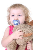 Sleepy girl with toy — Stock Photo