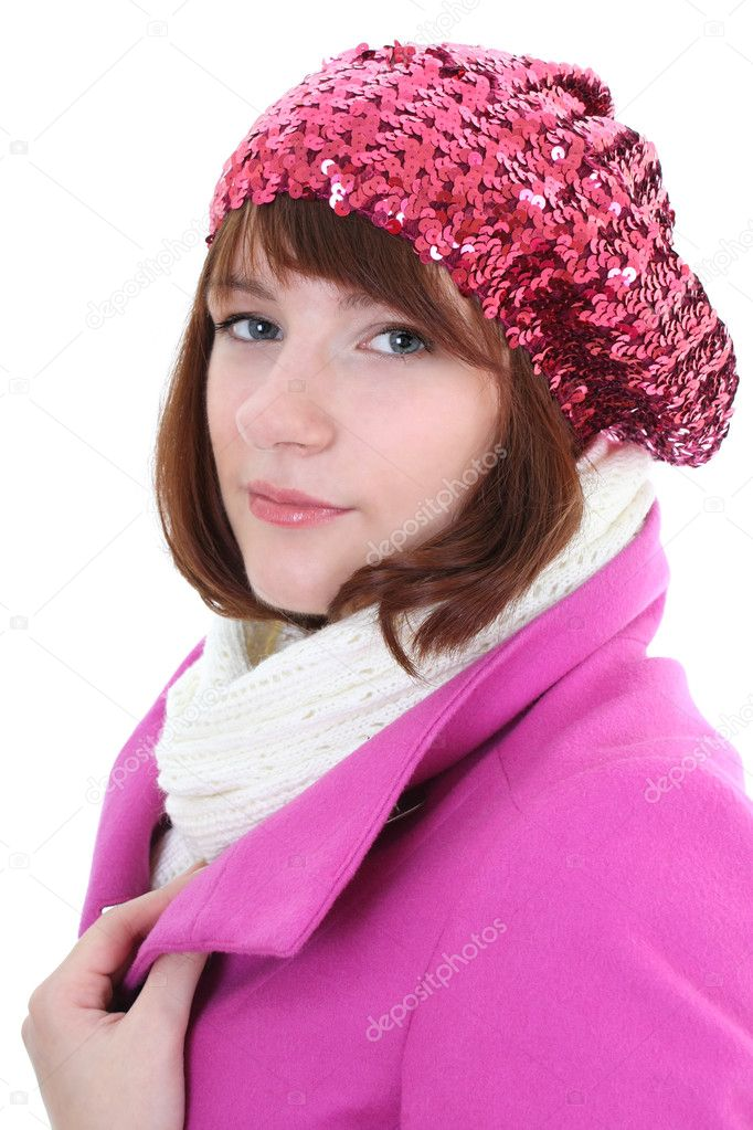 Portrait of cute woman in pink coat isolated over white background — Stock Photo #11790859