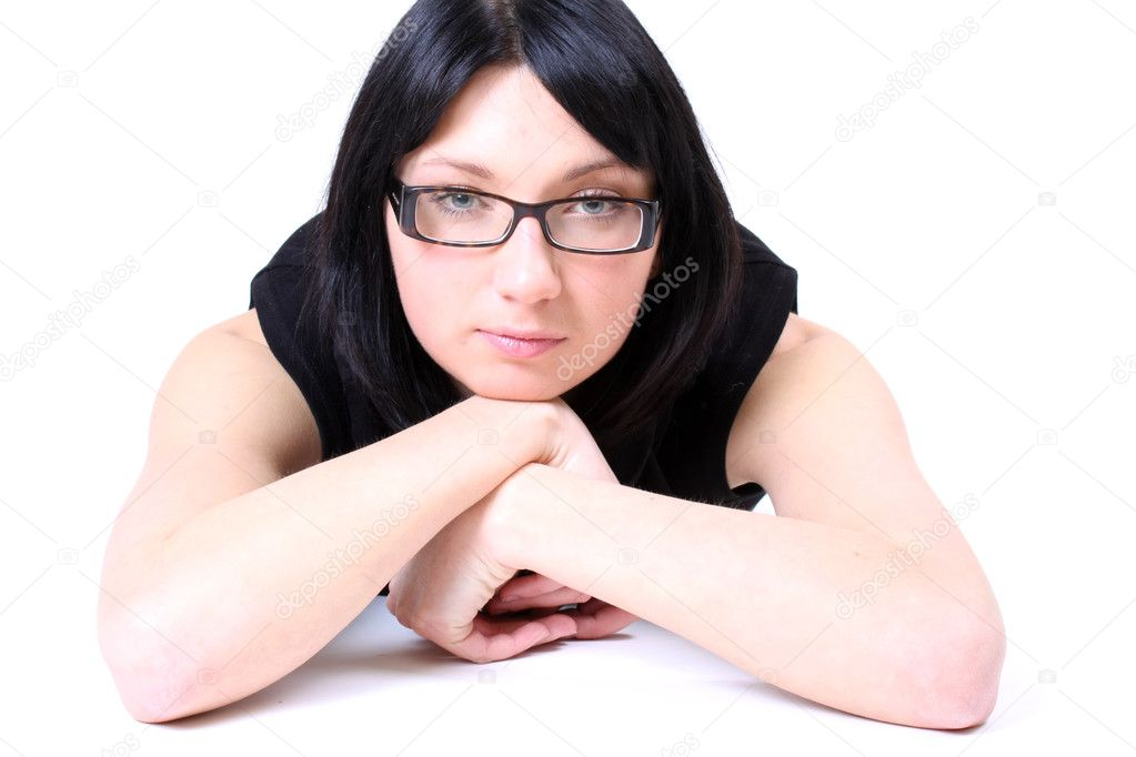 Young beautiful serious woman with glasses — Stock Photo #11793667