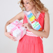 Happy birthday girl with gift — Stock Photo