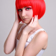 Pretty woman in red wig — Stock Photo #11839102
