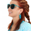 Young woman with blue sunglasses — Stock Photo
