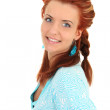 Happy woman in blue with coiffure — Stock Photo #11839276
