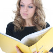 Business woman with yellow folder — Stock Photo