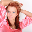 Red-haired woman with tatoo — Stock Photo