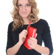 Woman in black with red notepad — Stock Photo