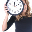 Happy woman in black with clock — Stock Photo #11839461