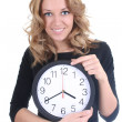 Happy woman in black with clock — Stock Photo