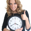 Happy woman in black with clock — Stok fotoğraf