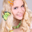 Royalty-Free Stock Photo: Happy girl with butterfly in hair